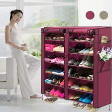 6 Tiers Shoe Rack with Cover 12 Grid Organizer Cabinet 110x30x118cm 4 Colors