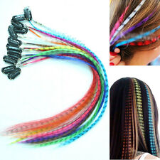 12pcs Multi Colour Leopard Dot Grizzly Feather Clip in Hair Extensions Hairpiece