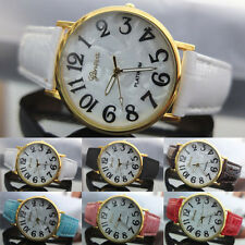 Mens Womens Chic Classy Geneva Shell Face Style Faux Leather Quartz Wrist Watch