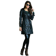 2014 new winter women Fashion Black Leather Womens Long Trench Coat LC85004