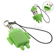 High-Speed Lovely Android Robot USB 2.0 TF Micro SD TF Card Reader W/ Keychain