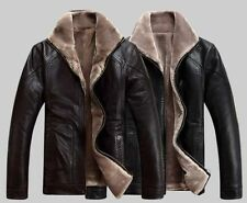 Winter Faux leather Sheep Skin Faux Fur Men Trench Jacket Coat Zipper Blazer