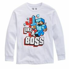 Minecraft Like a Boss White Game App Youth Long Sleeves New T-Shirt Tee S-XL