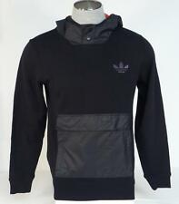 Adidas Trefoil Logo Fabric Mix Hoodie Black Knit Hooded Pullover Mens NWT