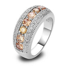 Captivating Unisex Morganite Gemstones Silver Ring Size 6 7 8 9 10 Free Shipping