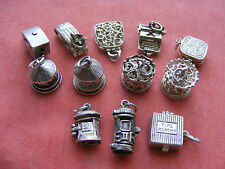 VINTAGE STERLING SILVER CHARM OPENING & MOVING -POST BOX CARAVAN TYPE WRITER
