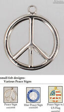 Peace sign fobs, various designs & keychain options