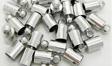 Wholesale Silver Plated Brass Barrel Cord End Caps 3mm/6mm Kumihimo Glue in K