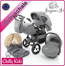 Chilly Kids Jaguar J1 Kombi Kinderwagen Autositz 3 in 1 mit Wintefußsack