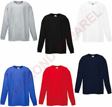 FRUIT OF THE LOOM LONG SLEEVED T SHIRTS WORK FUNCTION  ALL SIZES MENS DAD GIFT