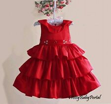 NEW GIRLS Baby Kid's Gorgeous Pageant Princess Party Wedding Ruffles Dress