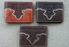 Montana West Mens Leather Western Rodeo Tooled Wallet  Pick Color BR-W020