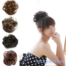 New Fake Hair Extension Bride Bun Hairpiece Scrunchie Wavy Curly Hair Pony Tail