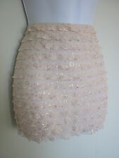 BNWT MISO NUDE GOLD SHIMMER RUFFLE STRETCH BODYCON MICRO MINI SKIRT SIZE 8 10 12