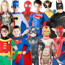 Comic Book Superhero Boys Fancy Dress Marvel DC Heroes Kids Childrens Costume