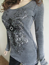 Vocal Black Velvet Cross Crystals Stones Mineral Wash Sexy Tattoo Shirt S M L XL