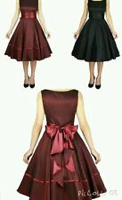 rockabilly dress satin prom 50s swing vintage s 50 bridesmaid black red prom UK