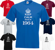 KEEP CALM MADE IN 1964 - 50th BIRTHDAY Funny Joke MENS Present Gift TOP T SHIRT