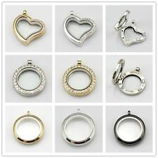 5x Crystal Silver/Gold Circle Living Memory Locket For Floating Charms Wholesale
