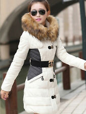 New Women's Slim down cotton trench coat stitching hooded padded jacket belt fur