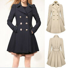 Career Womens Temperament Slim Coat Double Breasted Trench Outwear Lapel Jacket
