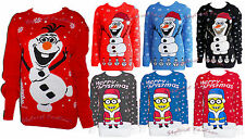 S241 Ladies Novelty Olaf Frozen Knitted Cute Cheeky Minion Christmas PartyJumper