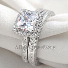 2.8CT 925 Sterling Silver White Gold Plated CZ Wedding Engagement Ring Sets 6-9