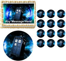 Doctor Who TARDIS Party Edible Cake Topper Frosting Sheet Image - All Sizes!