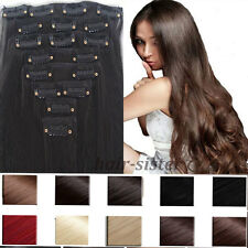 100% real Natural Full Head Clip in Hair Extensions 18 clips on 40 colors USA hs