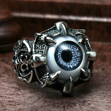 Men's Punk Vintage Dragon Claw Black Evil Eye Skull Stainless Steel Biker Ring