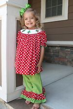 NWT Smocked Christmas Tree Set w/Double Ruffle Pants by The Smocked Shop!