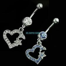 dangle rhinestone heart stainless steel belly barbell navel ring fashion jewelry