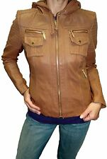 Women's Michael Kors Hooded Leather Jacket Retail value $495