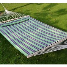 Double Size Quilted Fabric Heavy Duty Sleep Bed Hammock  W/Pillow W/wooden stick