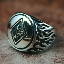 Men's Biker 1%er Motorcycle Club Outlaw One Percenter Flame Stainless Steel Ring