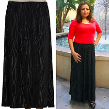 New plus size long maxi skirt black with studs elastic waist 1X 2X 3X 4X 5X 6X