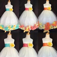 Flower Girl Bridesmaids Pageant Ivory Tulle Mixed Petal Dress