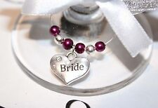 Wedding Wine Glass Charms -Top Table - Maroon - Choice of Charms/Colours