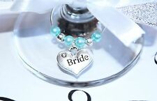 Wedding Wine Glass Charms -Top Table - Turquoise  -  Choice of Charms/Colours