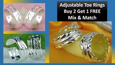 Sterling Silver Plated Adjustable Toe Rings - Buy 2 Get 1 Free