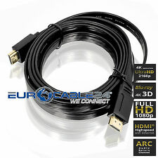 HDMI Kabel 1.4b Schwarz Flach Flat Slim Triple XD Technologie HDMI Movie 4K