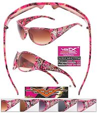 Hot Pink & Pink Camo Designer Sunglasses Camouflage Chrome Hunting Fishing 56302