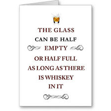 """Typographic Generic """"Glass half full"""" Card. Male/ Female. Next Day Post"""