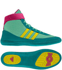 NEW Adidas Combat Speed 4 Men's Wrestling Shoes, Emerald/Yellow/Pink, G96429