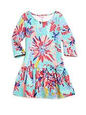 New Lilly Pulitzer Kids Trippin and Sippin CORALINE Girl's Dress L XL 8 10 12 14
