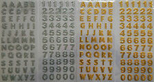 GOLD/SILVER DIAMANTE GLITTER STICKERS NUMBERS,CAPITAL LETTERS ALPHABET CRAFTS