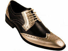 Amali Mens Two-Toned Black and Metallic Gold Dress Shoe with Wing-Tip: 5846-035
