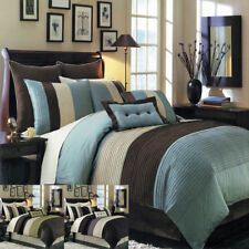 8PC-Hudson Comforter Set with matching skirt, shams & Cushions- ALL SIZES