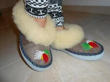 Comfortable Ladies Womens Natural Sheep Leather Slippers Shoes Sandal Moccasins