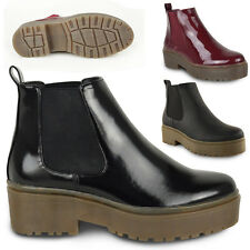 WOMENS LADIES PUNK RETRO CHELSEA ANKLE BOOTS CHUNKY CLEATED PLATFORM SOLE SHOES